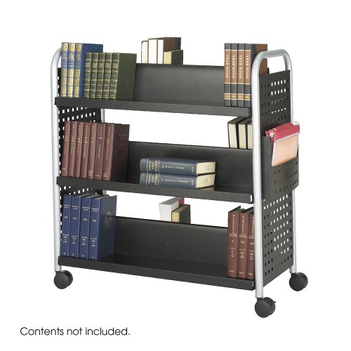 Safco 2-Sided Cart,6 Slanted Shelves,41-1/4