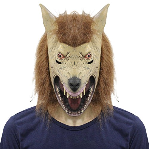 Goat Billy Adults Costume (Scary Wolf Head Mask Latex Rubber Creepy Werewolf Halloween Party Costume)