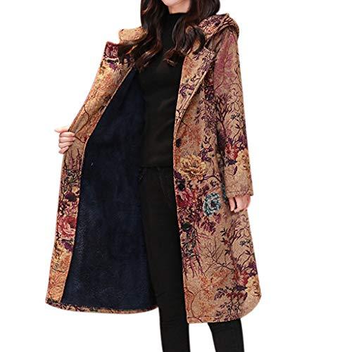 Harpi Women's Ethnic Style Long Print Hooded Coats Plus Velvet Warm Windbreaker Coat Cotton Jacket Outwear -