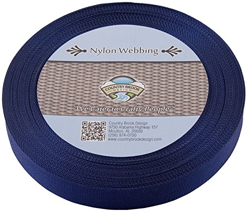 Country Brook Design 1 Inch Navy Blue Lite Weight Nylon Webbing, 10 Yards (Plain Leash 8)