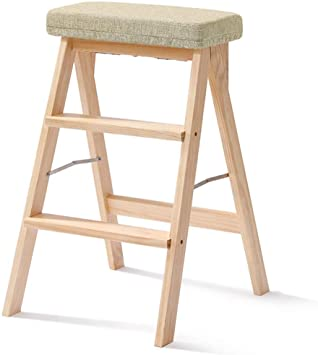 Escalera plegable taburete banqueta Elder Kids Step Stool con el paso ancho, escalera de paso de madera plegable de 3 pasos for la cocina del hogar, ayuda 100kg (Color : Wooden color):