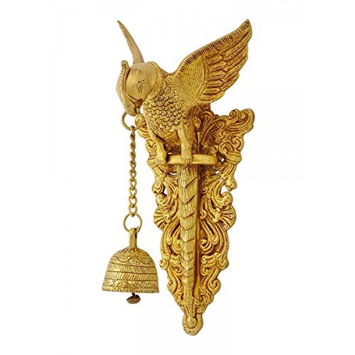 Aakrati Brass Parrot Showpiece with Charm Bell Decorative Bird Welcome Door Hanging Statue Wall Decor Metal Sculpture/Statue - Unique Gift on Festival