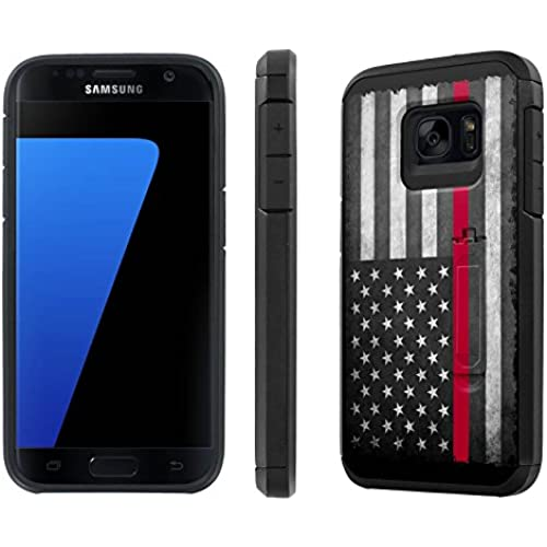 Galaxy [S7] [5.1 Screen] Defender Hybrid Case [SlickCandy] [Black/Black] Dual Layer Protection [Kick Stand] [Shock Proof] Phone Case - [Fire Fighter Red Line] for Sales