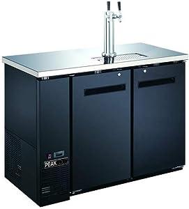 """PEAK COLD 2 Door Commercial Beer Dispenser - Double Tap Keg Cooler - Kegerator; 48"""" W"""