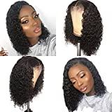 Fureya Short 13x6 Lace Front Human Hair Wigs Pre Plucked With Baby Hair Deep Part Curly Brazilian Remy Hair Lace Front Wigs 180 density 10 inch