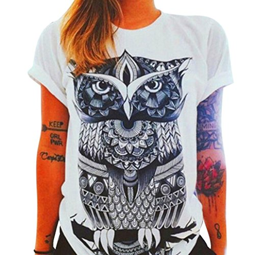 Lisingtool Women's Print Loose Short Sleeve Casual Blouse Shirt Tops Summer T-shirt (X-Large)