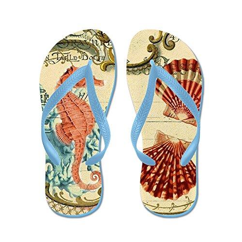 Cafepress Chic Seahorse Coquillages Plage Nautique - Tongs, Sandales String Drôle, Sandales De Plage Bleu Caraïbes