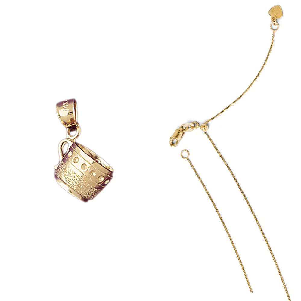 14K Yellow Gold 3-D Cup Pendant on an Adjustable 14K Yellow Gold Chain Necklace
