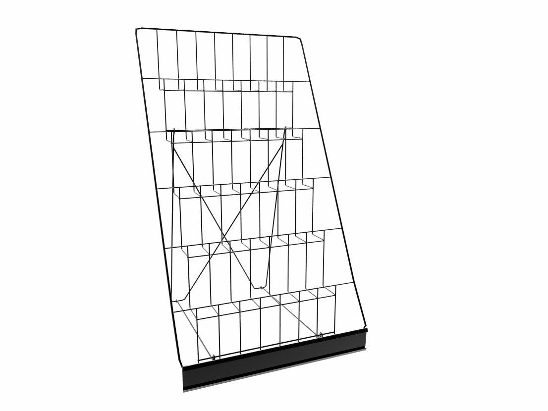 Black119352 119352 with Header FixtureDisplays 6-Tiered 18 Wire Display Rack for Tabletops 2.5 Open Shelves