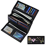Women RFID Blocking Wallet Trifold Embroidery Luxury Leather Clutch Travel Purse Black