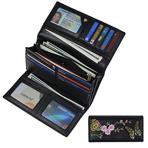 Women RFID Blocking Wallet Trifold Embroidery Luxury Leather Clutch Travel Purse Black by Bricraft