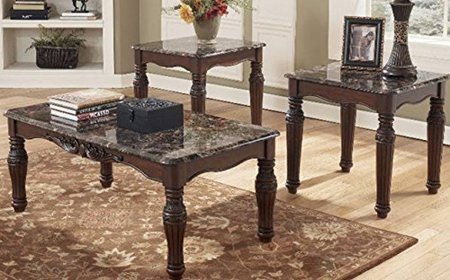 North Shore Traditional Style Dark Brown Sturdy Wood Frame Faux-Marble Top Coffee & 2 End Table Set - North Marble Shore