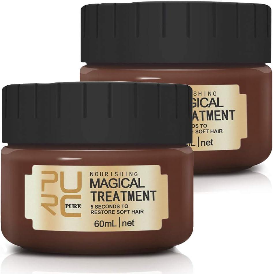 (2 PACK) Mascarilla Cabello Tratamiento, Moleculares Avanzadas Acondicionador Para El Cabello Tratamiento De RaíCes, 5 Segundos Para Restaurar El Cabello Suave, Cabello Seco Y DañAdo
