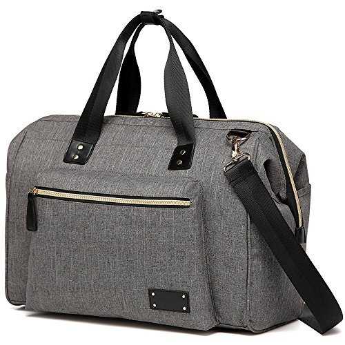Large Diaper Bag Stylish for Mom and Dad - Convertible Travel Baby Nappy Bags Diapers Tote Purse for Boys and Girls with Changing Pad, Insulated Pockets (Gray)