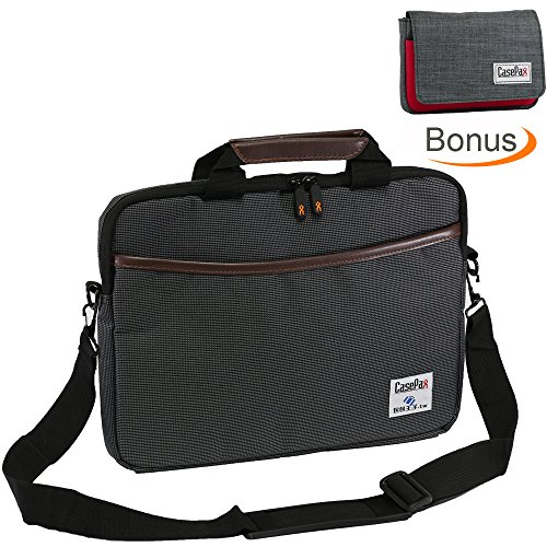 Casepax 13.3-Inch Laptop Shoulder Bag Sleeve Case Cover with BONUS Travel Accessories Pouch Case for Apple Asus Acer Lenovo Dell HP Computer Chromebook Ultrabook MacBook Pro Air, P-150505B-13, Gray