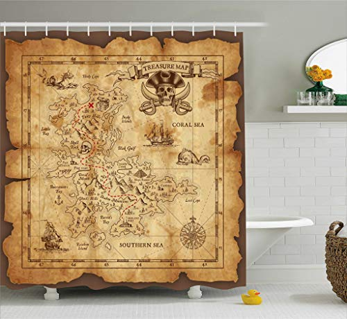 Ambesonne Island Map Decor Shower Curtain Set, Super Detailed Treasure Map Grungy Rustic Pirates Gold Secret Sea History Theme, Bathroom Accessories, 69W X 70L Inches, Beige Brown