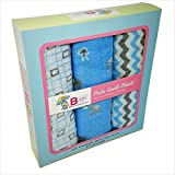 Swaddle Blankets - Set of 3 Super Soft Muslin 100% Cotton Receiving Blankets - By Bouncing Baby Bundle - Extra Large Boys Blue Classic Multi-use for Nursing Cover Stroller Cover or Burp Cloth