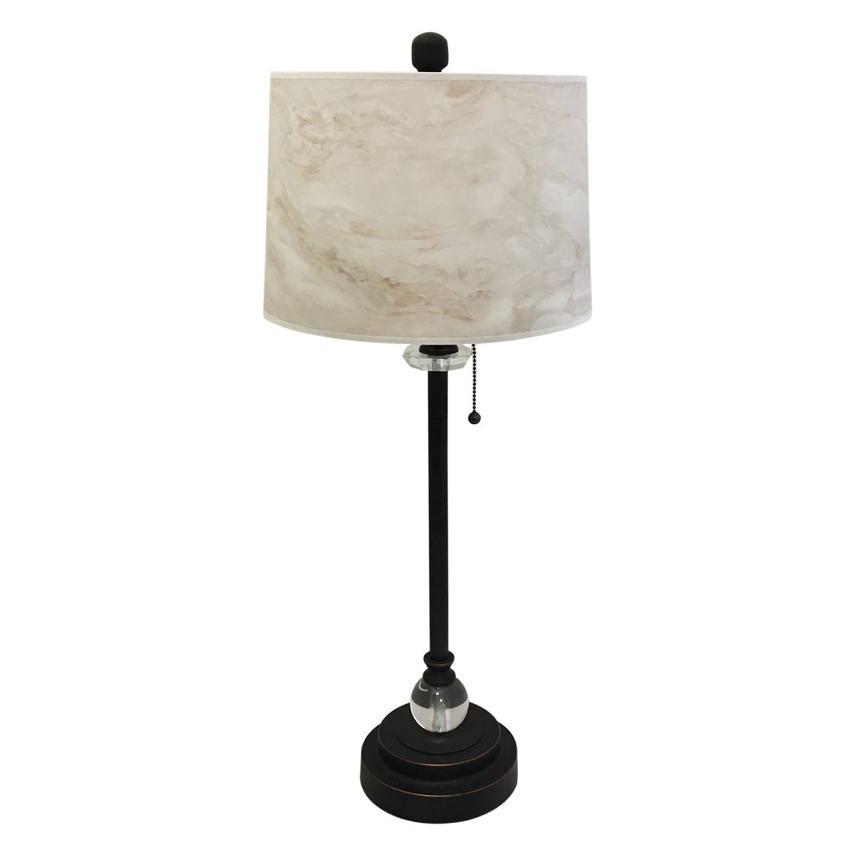 Royal Designs 28'' Crystal and Oil Rub Bronze Buffet Lamp with White Marble Texture Hardback Lamp Shade