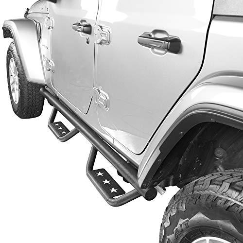 Hooke Road Wide Drop Side Steps Nerf Bars Solid Steel Running Boards for 2018-2019 Jeep Wrangler JL 4-Door (Pair)