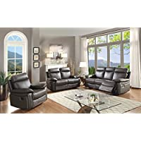Christies Home Living 3 Piece Ryker Leather Contemporary Sofa, Loveseat and Glider Reclining Chair Room Set with 5 Seats, Brown