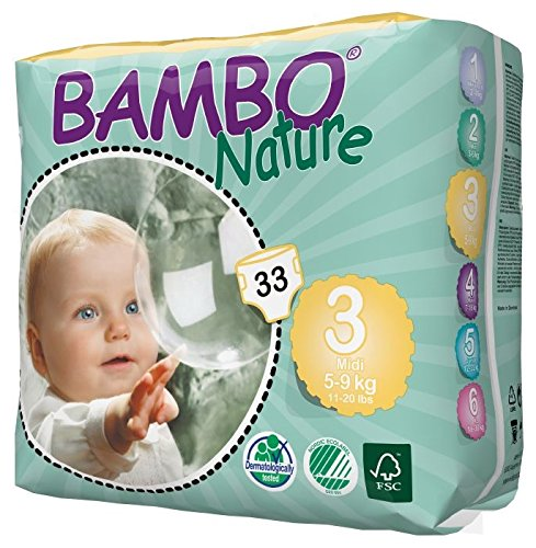 Large Product Image of Bambo Nature Eco Friendly Baby Diapers Classic for Sensitive Skin, Size 3 (11-20 lbs), 33 Count