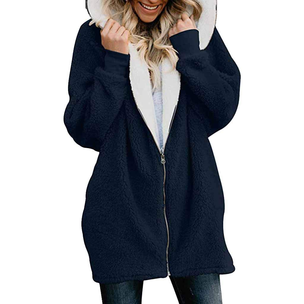 Pandaie Womens Long Sleeve Solid Fuzzy Fleece Jacket Open Front Hooded Cardigans Coats Outwear with Pocket Blue by Pandaie
