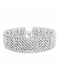QIYUN.Z Women's Fashion Choker Beautiful Rhinestone Necklace