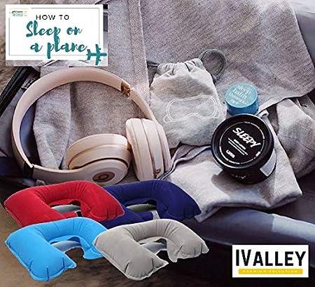 2 Set di Tappi per Le Orecchie e 1 Pompa Portatile per Le Mani IVALLEY 2PCS Cuscino da Viaggio Gonfiabile U-Shape Completo di Maschera 3D per Dormire con 2 PCS