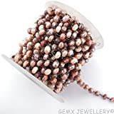 Gems-World Jewelry Natural Peach Moonstone Coated Rondelle Beads Rosary Chain,7-8mm Black Plated Wire Wrapped Link Stone Rosary Chain, (BTC-B18)