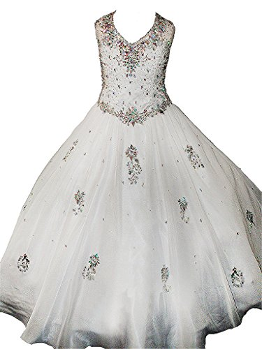 WZY Big Girls Crystals Beaded Kids Ball Gowns Girls Pageant Dresses ...