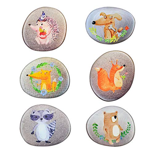 Fridge Magnets 6 Pcs Stone Painted Animal Series Stickers for Office Cabinets Kitchen]()
