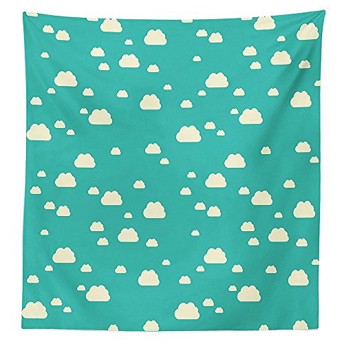 vipsung Turquoise Decor Tablecloth Sunlit Clouds Vacation Park Picnic Happy Fun Sunny Day Theme Childish Art Dining Room Kitchen Rectangular Table Cover