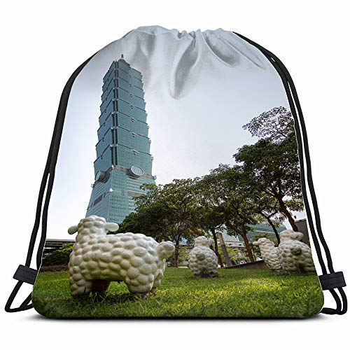 Taipei Taiwan August 09 2018 Plastic Abstract Architecture Buildings Landmarks Drawstring Bag Backpack Gym Dance Bag Reversible Flip Sequin Bling Backpack For Hiking Beach Travel Bags