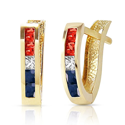 14k Yellow Gold Hoop Earrings with Natural Multi Gems 14k Yellow Gold Sapphire Hoop Earrings