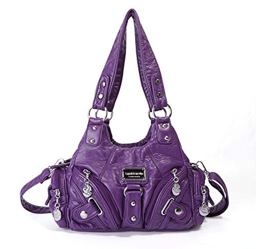 Handbag Hobo Women Bag Roomy Multiple Pockets Street Ladies' Top Handle Fashion PU Tote Satchel Bag Shoulder Bag (Purple)