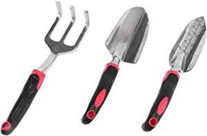 (US Shipment)2020 Newly Garden Tool Set, 3 Piece Cast-Aluminum Heavy Duty Gardening Kit Includes Hand Trowel, Transplant Trowel and Cultivator Hand Rake with Soft Rubberized Non-Slip Ergonomic Handle