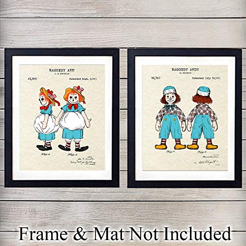 - Raggedy Ann & Raggedy Andy Patent - Unframed Wall Art Prints - Perfect Gift For Disney Fans - Great Home Decor - Beautiful Girls or Boys Bedroom, Nursery Display - Ready to Frame (8x10) Vintage Photos