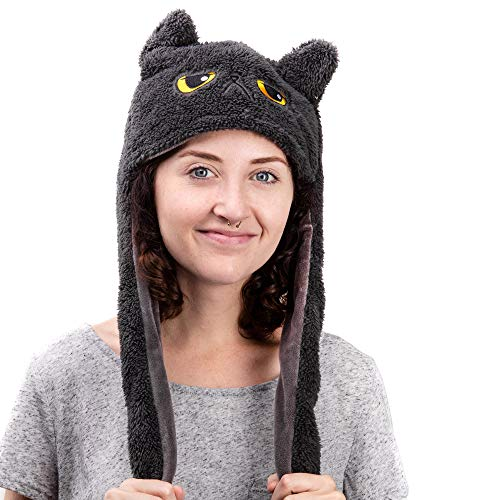 Smoko Animated Grumpy Cat Beanie | Gray Hoodie with Moving Ears | Plush Winter Costume for $<!--$18.99-->