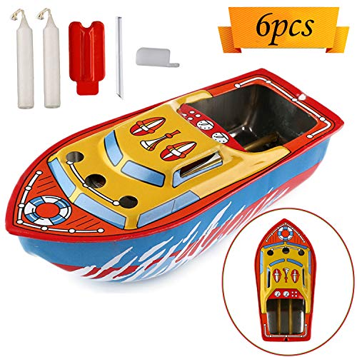 (ATian Candle Boat, Unetox Vintage Pop-pop Boat Steam Powerd Collectable Toy Boat Floating Candles Educational Recycle Retro Tin Boat Toy Gift for Children Seniors Adult Birthday Party etc )