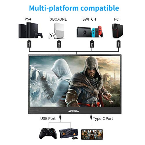 JOHNWILL 15 6 Inch USB-C Portable Monitor 1920x1080 IPS LCD Monitor with  Dual Type-C(USB-C) Interface,HDMI Input, Built-in Speaker,Gaming Monitor  for
