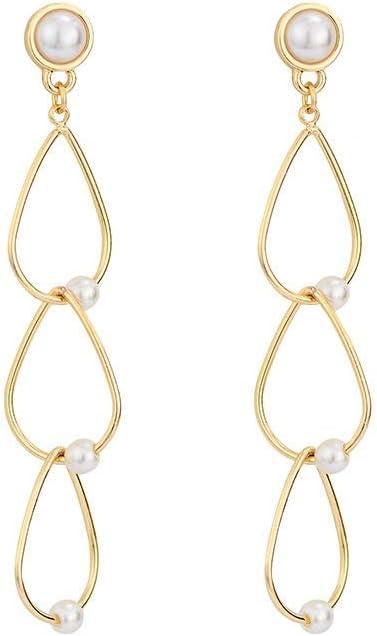 Creativa perla Pendientes de oro clásico pendientes largos circular de cadena larga pendientes creativa pequeña geométrica del aro pendientes pendientes de las mujeres declaración, del oído / accesori
