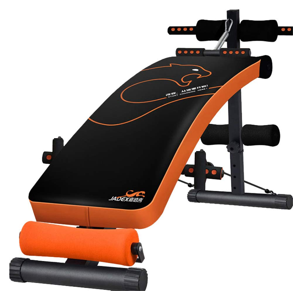 Verstellbare Gewichtsbank Sit Up Bench Faltbare Multi-Purpose Abdominal Trainer Mit Beef Tendon Rope Spring Booster 5 Levels Höhe Von Flach Bis Incline/Decline Orange