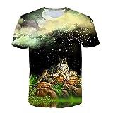 Men 3D Printing T-Shirt,Jchen Summer Mens Teen Boys Short Sleeve 3D Wolves Print Casual Pullover Tees Shirt Tops (M/US/EU Size:S, Black)