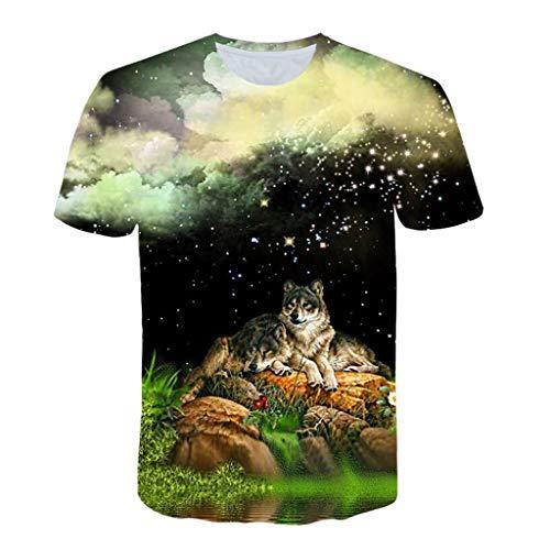 Men 3D Printing T-Shirt,Jchen Summer Mens Teen Boys Short Sleeve 3D Wolves Print Casual Pullover Tees Shirt Tops (M/US/EU Size:S, Black) by Jchen Men T-shirt (Image #6)