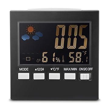 Zhuhaimei,Pantalla Digital Termómetro Monitor de Humedad Interior Temperatura Reloj Despertador Calendario(Color:Negro): Amazon.es: Hogar