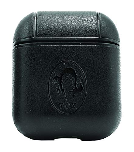 Metal Gear Solid Fox Oval (Vintage Black) Air Pods Protective Leather Case Cover - a New Class of Luxury to Your AirPods - Premium PU Leather and Handmade exquisitely by Master Craftsmen