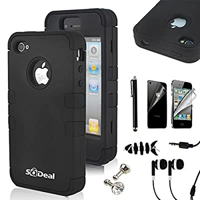 iphone 4s case, SQdeal 3in1 Rubber + Plastic High Impact Hybrid Hard Case Protective Cover for iphone 4 4s, with Earphone Touch Stylus Pen and Front/Back Screen Protector by Sqdeal