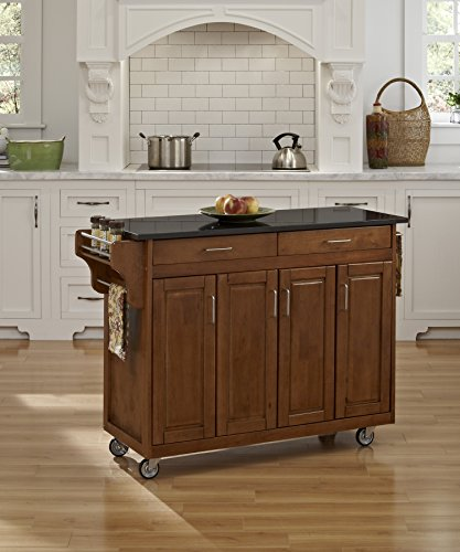 - Create-a-Cart Cottage Oak 4 Door Cabinet Kitchen Cart with Black Granite Top by Home Styles
