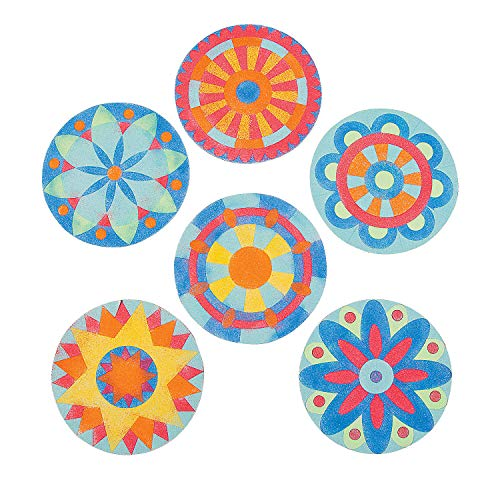 (Fun Express - Mandala Sand Art Pictures - Craft Supplies - Sand Art - Sheets - 24 Pieces)