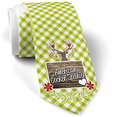 Green Plaid Christmas Neck Tie American Cocker Spaniel, Dog Breed United States gift for men